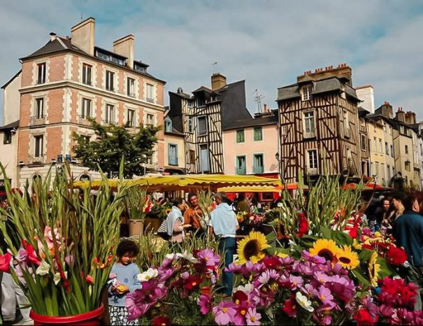 Stay in Brittany in Rennes and visit the Lices market, a market of producers, craftsmen and florists