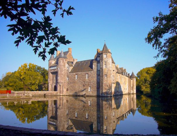Castle of Trécesson in Brocéliande in Brittany for holidays